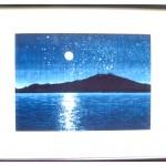 藍型染額「眉山月灯り」