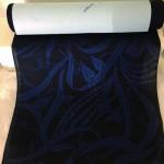 麻地藍型染着物